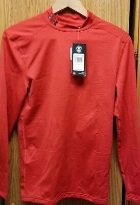 UNDER ARMOUR Mens ColdGear Compression Long Sleeve Mock Shirt Red Select Med E13