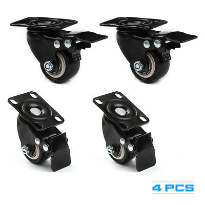 "4 Heavy Duty Caster Set 1.5"" Wheels Swivel With Brake Non Skid No Mark Casters"
