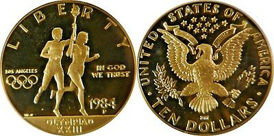 1984-P $10 Olympic Torch Gold Commemorative Coin ** Pcgs Pr69Dc ** True Auction!