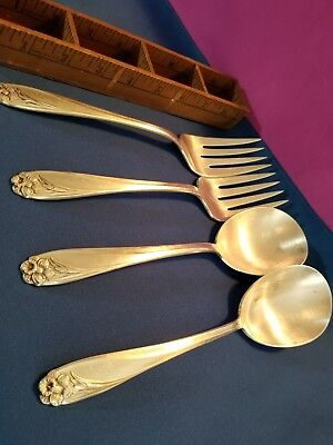Silverware Silverplate ROGERS.  DAFFODIL. FOUR Serving Pieces Forks/Spoons