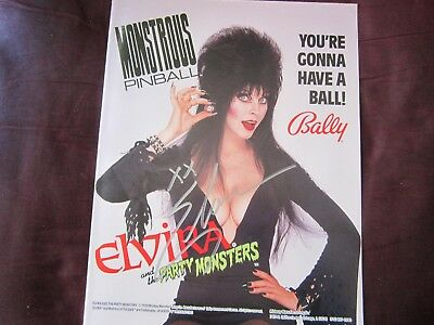 "Elvira Hand-Signed ""party Monsters"" Original 1989 Pinball Manual"