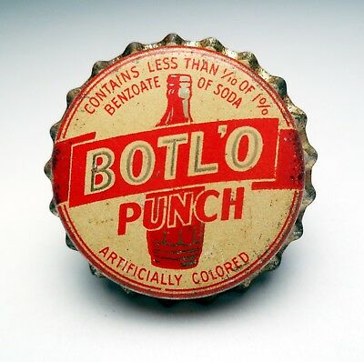 *Rare* 1930's/40's Vintage BOTL'O PUNCH Corked Lined Soda Bottle Cap