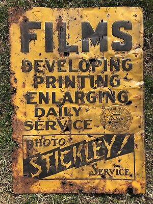 "Early 1920s Embossed Tin Litho Stickley Photo Film Printing Sign Gas Oil 28"" VTG"