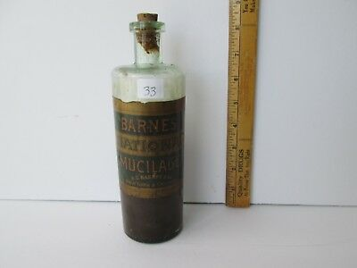"Antique Labeled Bottle ""Barnes National Mucilage"""