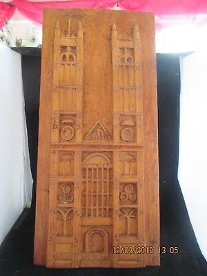 "Vintage or antique carved wooden wall panel or plaque 20"" x 9.25"""