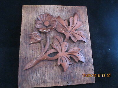 "Vintage/antique carved rustic wooden wall plaque or panel 7.5"" x 6.5"""