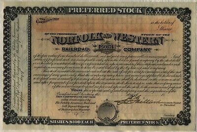 Norfolk & Western Railway Stock Certificate Railroad Southern Unissued 18__