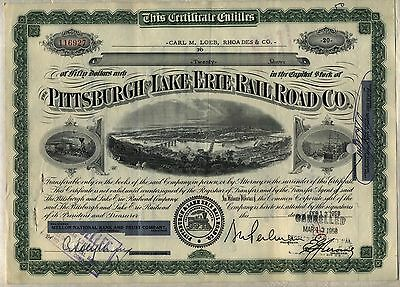 Wholesale Lot of 10 Pittsburgh & Lake Erie Railroad Company Stock Certificates