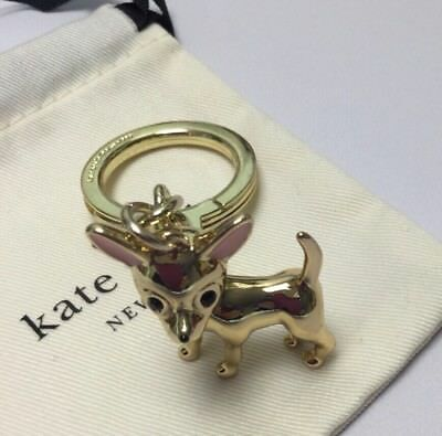 Kate Spade 12k Gold Plated Chihuahua Keychain Charm New