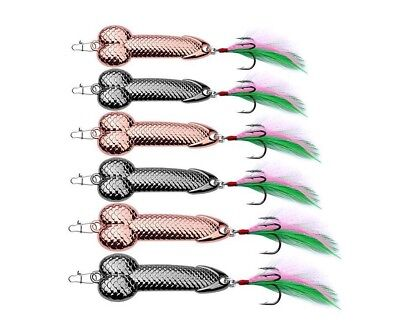 Fishing Lure Spoon Penis Bait Hook Metal Tackle Dick Treble Spinner 5 Pcs Lot