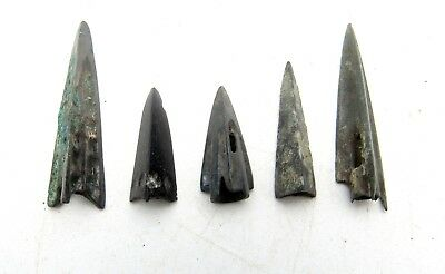 Lot Of 5 Ancient Scythian Bronze Arrow Heads - Ancient Historical Artifacts B573