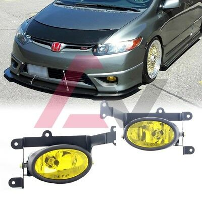 FOR HONDA CIVIC Coupe 06-08 Yellow Lens Pair Bumper Fog Light+Wiring+Switch on