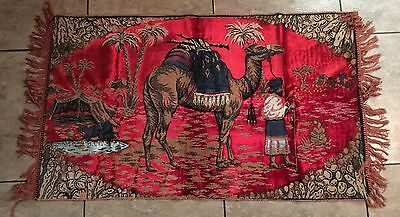 Beautiful Vintage Woven Tapestry Rug Middle Eastern Camel Desert Oasis