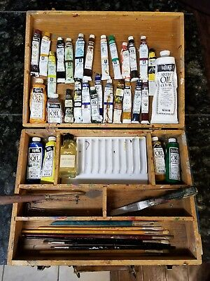 Mixed Lot of 30 Tubes Oil Paints Artist Grumbacher Used Soft wooden case Tools