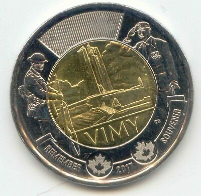 Canada 2017 Toonie Two Dollar Coin Canadian $2 REMEMBER Battle of Vimy Ridge