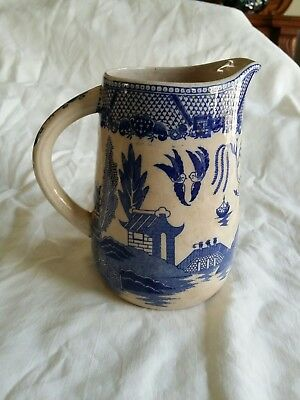 Antique Vintage Blue Willow Pitcher.. made in Japan...Very Old!