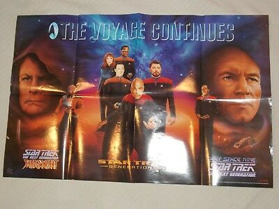 """Rare 1994 Paramount Pictures Star Trek """"The Voyage Continues"""" Poster 22"""" x 34"""""""
