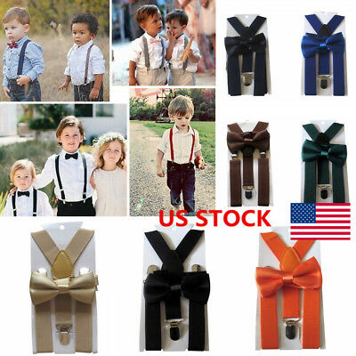Boys Kids Adjustable Suspenders Braces Clip-On Bow Tie Party Formal Plain Suits