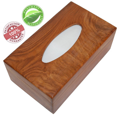 10 Inch Brown Tissue Box Cover Wooden Holder Paper Dispenser For 210 Kleenex