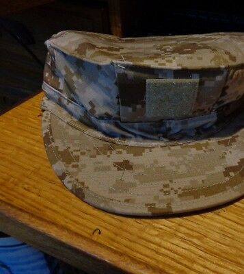 USN Navy Digital Desert Type II NWU 8-Point Hat Cover AOR1 Size 7 1/4 MODIFIED