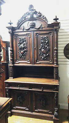 Antique French Carved Cabinet Buffet 1880