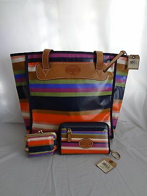 New Fossil Key-Per Stripe Tote, Small Zip Clutch and Frame Coin Wallet