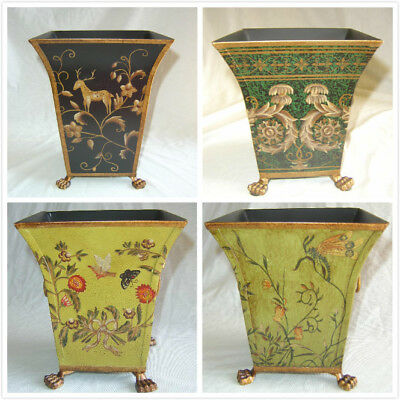 "10""H Hand Painted Tole Wastebasket/Orchid Planter"