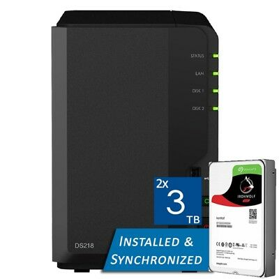 Synology DiskStation DS218 2 Bays NAS + 6TB (2x Seagate 3TB ST3000VN007)