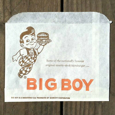 Original BOB'S BIG BOY FAST FOOD RESTAURANT Snack Hamburger Bags 1960s NOS