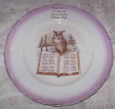 1912 5 & 10 Cent Store Pitman NJ Calendar Plate Wise Owl Open Book Give Away