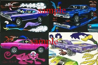 Road Runner  1968 1969 1970 Plymouth Muscle Car & Coyote Non Glossy Poster Art