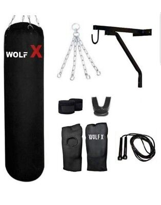 Wolf X 8 Piece Boxing Set 5ft Filled Heavy Punch Bag Gloves,Chains,Bracket,Kick