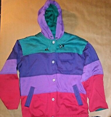 VINTAGE 1990's HIP HOP COLOR BLOCK UNISEX JACKET WITH HOOD