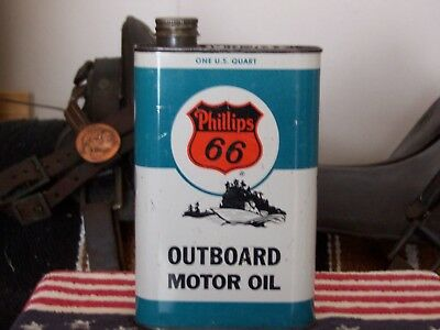 Vintage Phillips 66 one quart outboard motor oil can