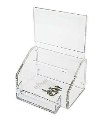 Source One Donation Box Ballot Box W/lock and Keys and Business Card Holder