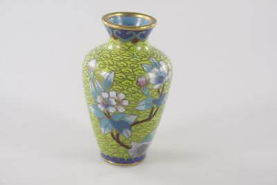 ANTIQUE 19th Century CHINESE ENAMEL FLORAL PATTERN GILDED CLOISONNE small VASE