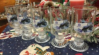 RARE Set of 5 New Holland Tractor Seasons Greetings Advertising Christmas Mugs