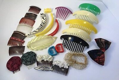 Vintage Hair Accessories banana clips, hair lift combs side combs 80s 90s