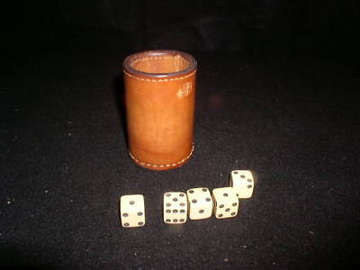 """Vintage Leather Lier's Dice Cup W/Dice """"San Gabriel Country Club"""""""