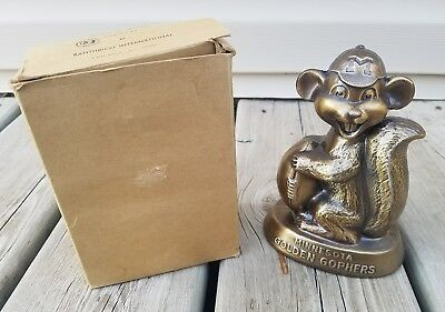 RARE 1950's Univ of MINNESOTA GOLDEN GOPHERS BANTHRICO MASCOT BANK METAL  MINTY!