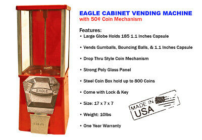 Eagle Cabinet 50¢ Capsule Toy Gumball Vending Machine (New ONE YEAR WARRANTY)