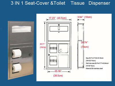 3 IN1 Recessed Seat-Cover and Toilet Tissue Dispenser 304 Stainless steel US!