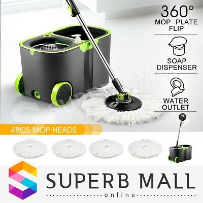 360 Degree Rotating Spin Mop and Bucket Set w/ Wheels and 4 Microfiber Mop Heads