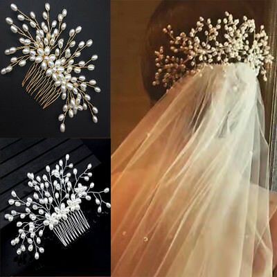 Bride Women Hair Comb Wedding Pearl Bridal Headwear Hair Accessories Handmade