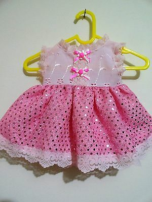 Baby Born Dolls Glitter Dress B/a & Sequin In Pink, Pink Lace Small Dots