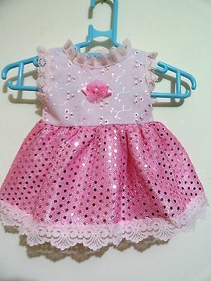 Baby Born Dolls Glitter Dress B/a & Sequin In Pink, Light Pink Lace Small Dots