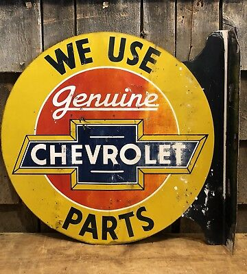 RARE Vintage ORIGINAL Genuine CHEVROLET Parts Auto Dealer 2 Sided Flange Sign