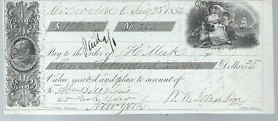 1854 Coshocton Ohio Bank Check Vignettes