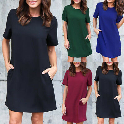 Women Fashion Summer Short Sleeve Mini Dress Solid Pocket Party Evening Cocktail