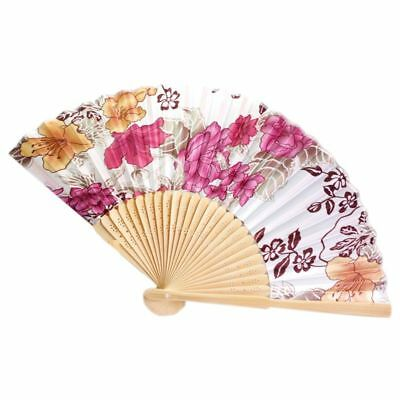 Chinese Japanese Fold Red Floral Fabric Bamboo Asian Folding Fan X2X8